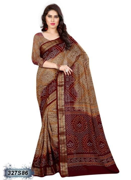 Brown & Beige Color Art Silk Saree 327S86