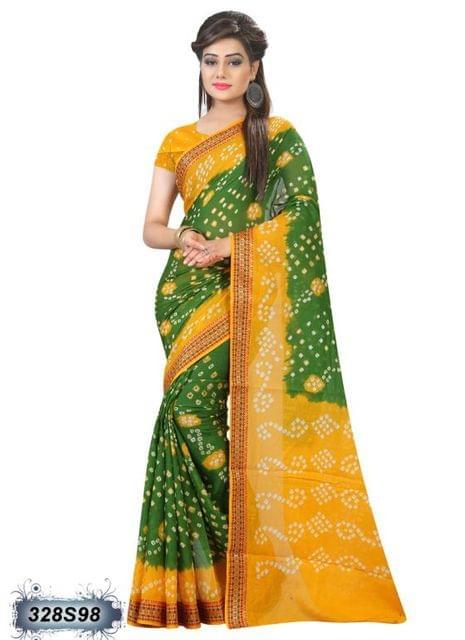 Yellow & Green Color Cotton Saree 328S98