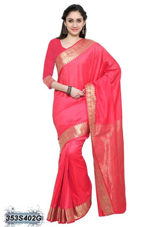 Red Color Chanderi Cotton Saree 353S402G