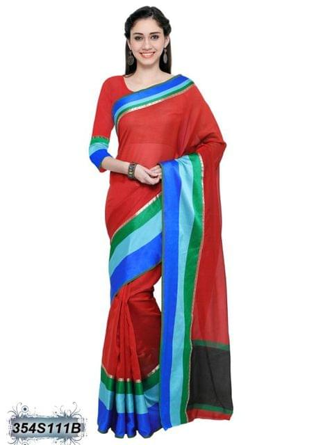 Red & Black Color Cotton Silk Saree 354S111B