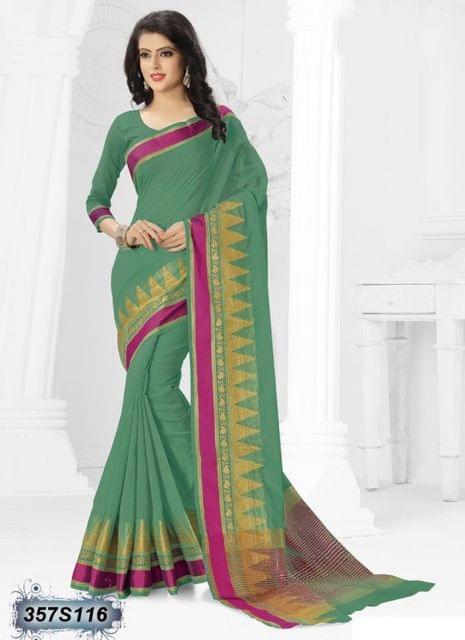 Green Color Cotton Silk Saree 357S116