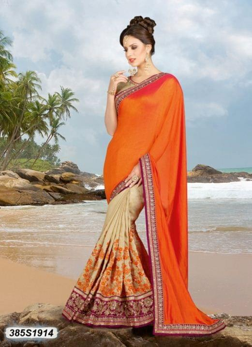 Orange Color Silk Saree 385S1914