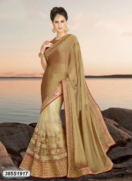 Beige Color Chiffon Silk Saree 385S1917