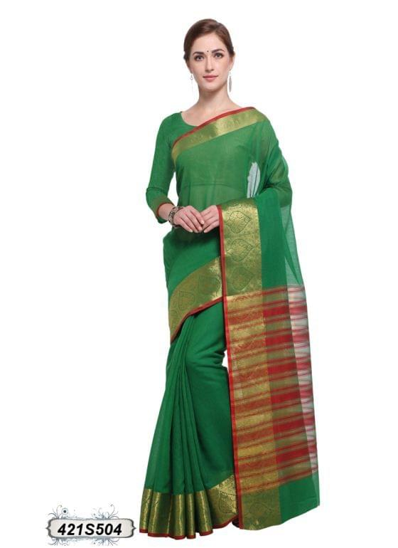 Green & Red Color Poly Cotton Saree 421S504