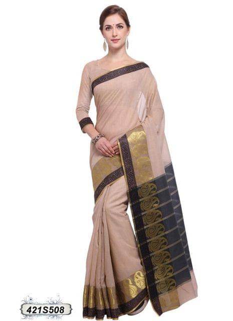 Beige & Black Color Poly Cotton Saree 421S508