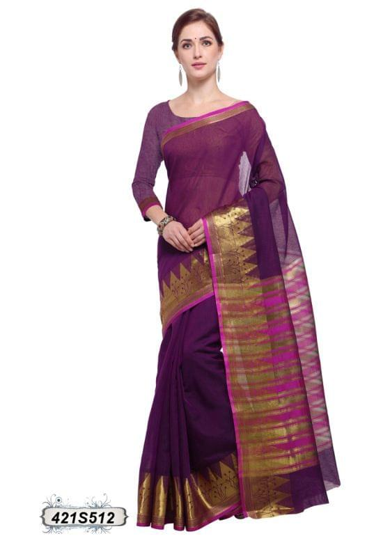 Purple & Pink Color Poly Cotton Saree 421S512