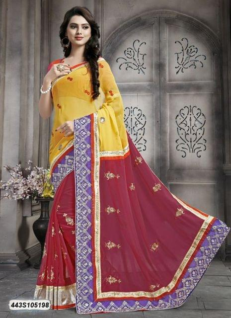 Pink & Yellow Color  Georgette  Saree 443S105198