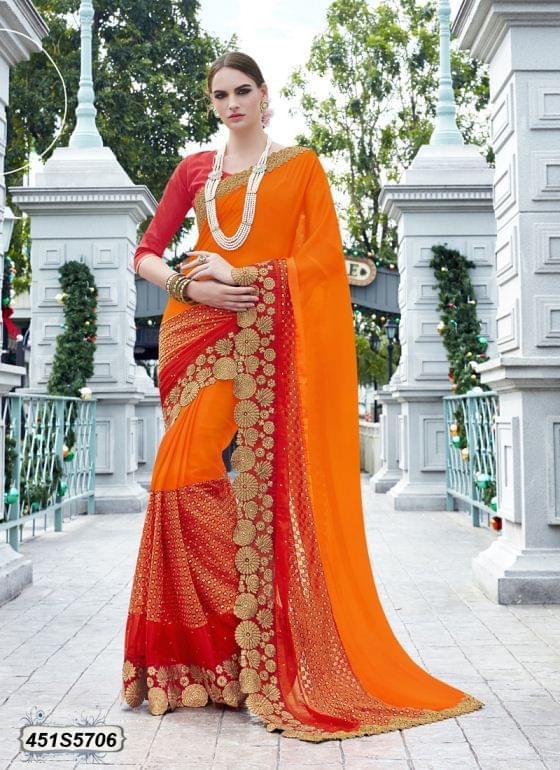 Orange Color  Georgette  & Raschel Net Saree 451S5706