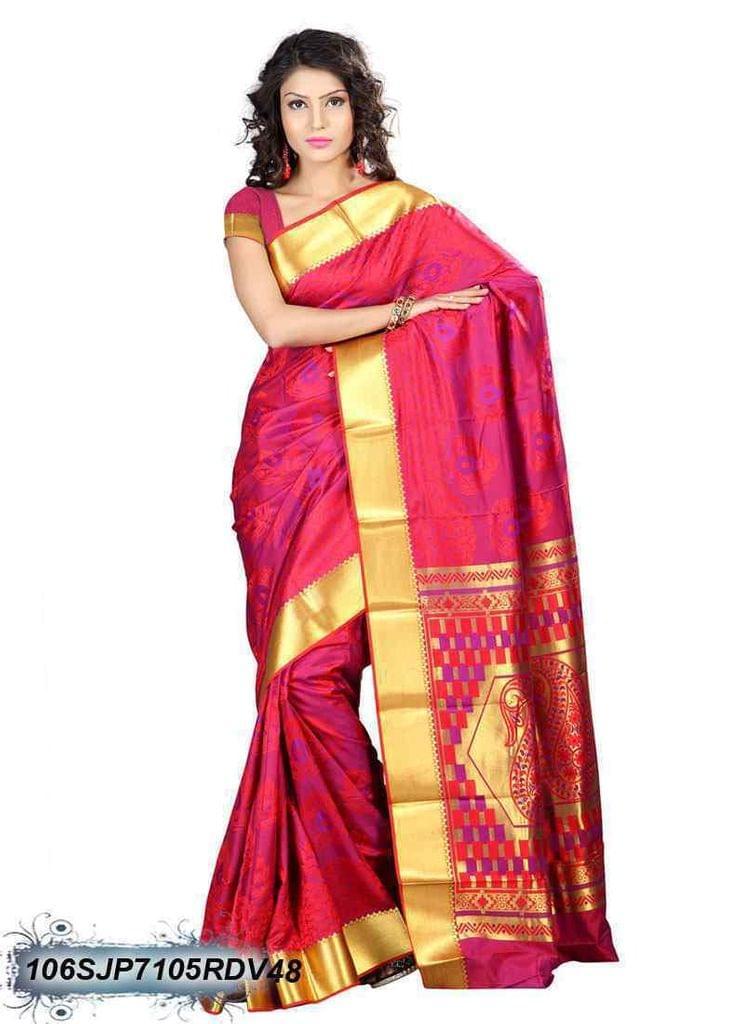 Pink  &  Golden Color Kanjivaram Silk Saree 106SJP7105RDV48