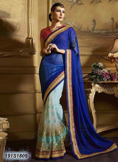 Blue Color  Georgette  Saree 191S1809