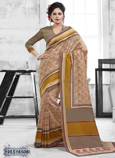 Beige Color Bhagalpuri Silk Saree 195S16506