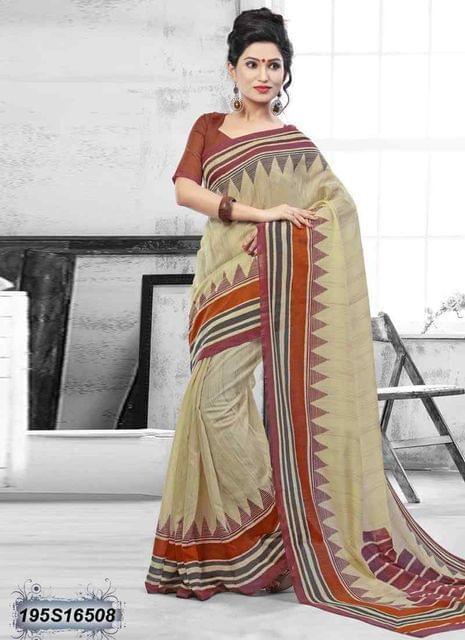 Beige Color Bhagalpuri Silk Saree 195S16508