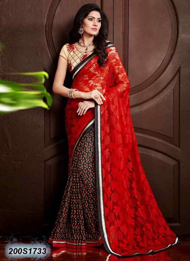 Red Color Raschel Net Saree 200S1733