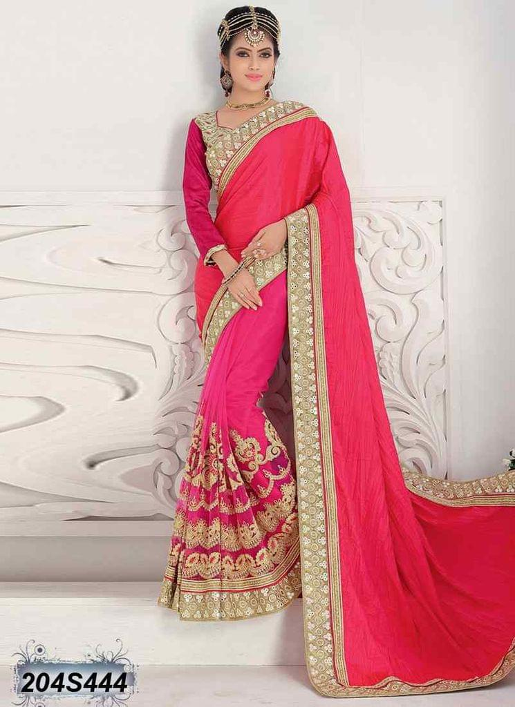 Pink Color Crushed Silk Saree 204S444