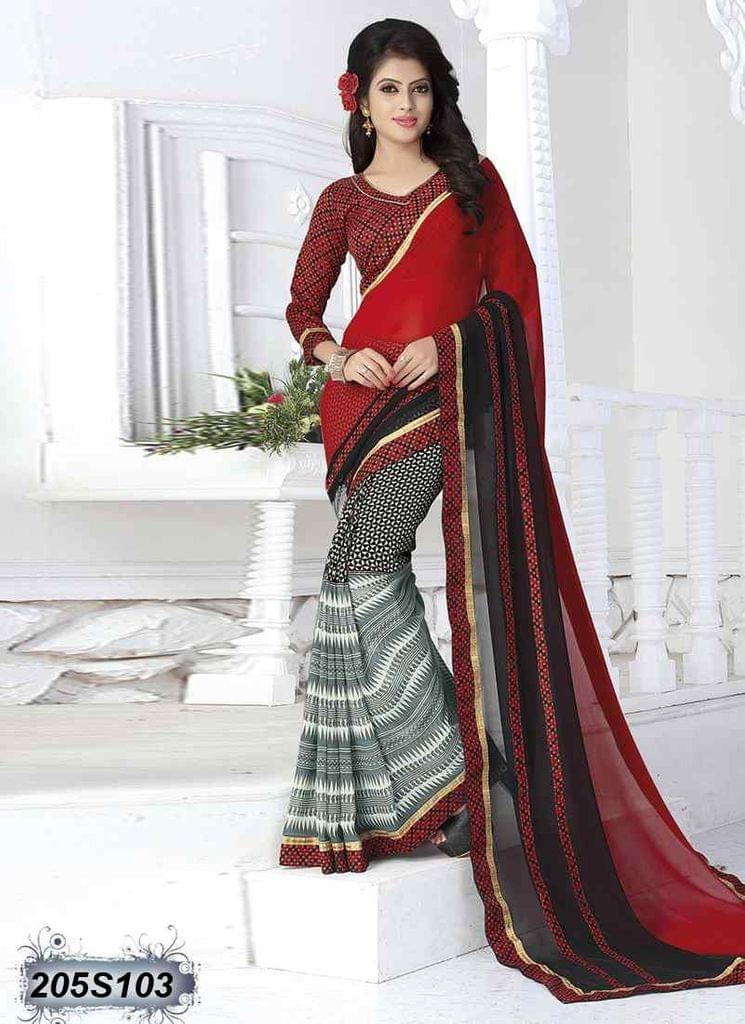 Red & Black Color  Georgette  Saree 205S103