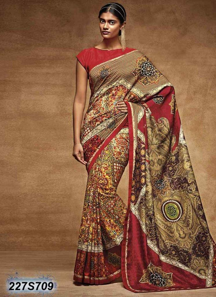 Multi Color Poly Silk Saree 227S709