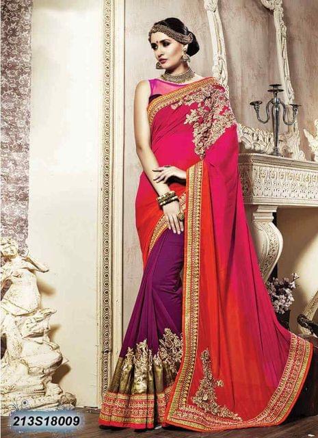 Pink & Orange Color Satin  Georgette  Saree 213S18009