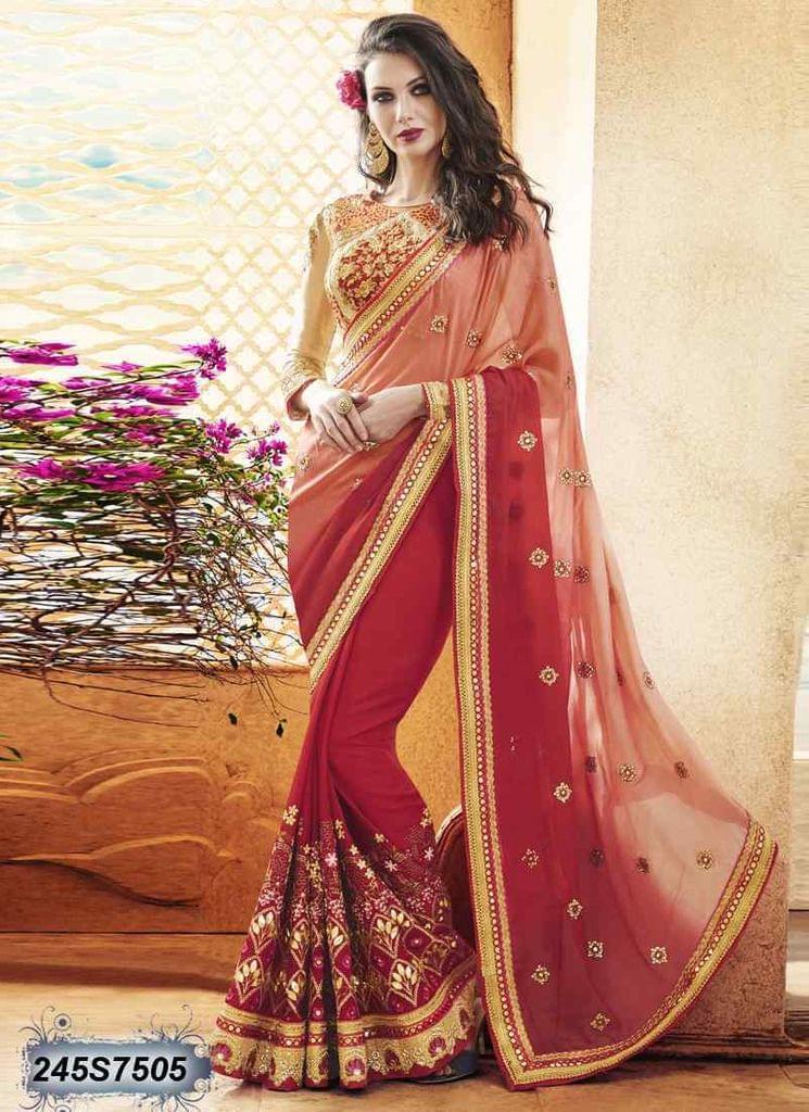 Peach & Red Color  Georgette  Saree 245S7505