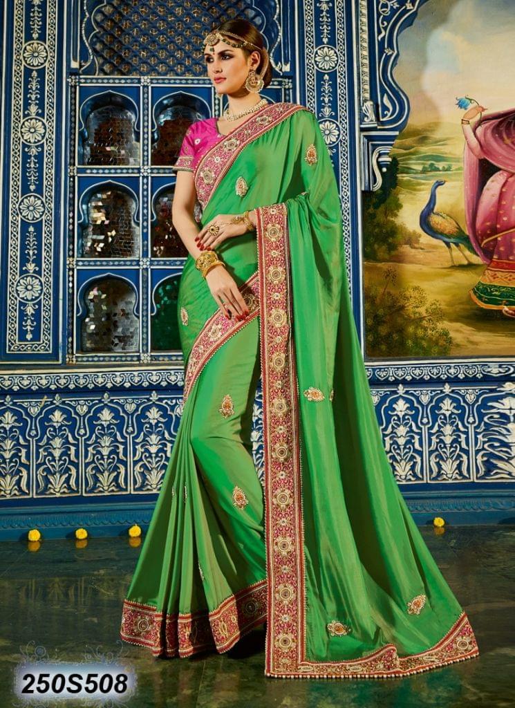 Green Color Poly Satin Saree 250S508