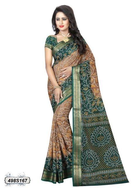 Beige & Green Color Art Silk Saree 498S167