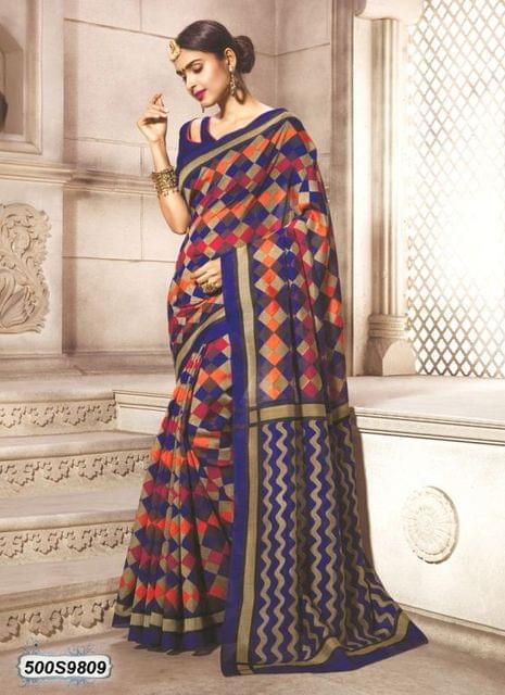 Beige & Multi Color Art Silk Saree 500S9809