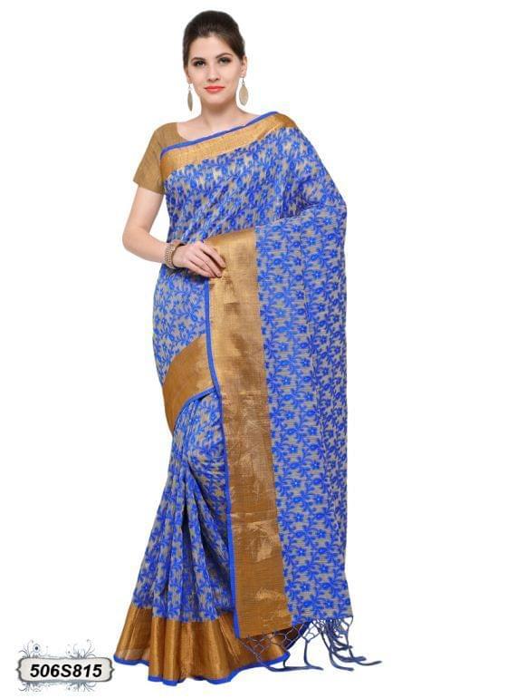 Beige & Blue Color Poly Silk Saree 506S815