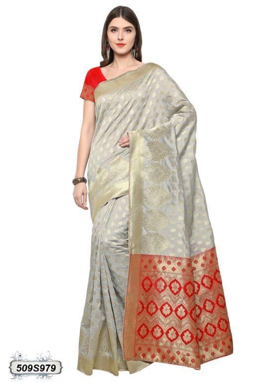 Grey & Red Color Poly Silk Saree 509S979
