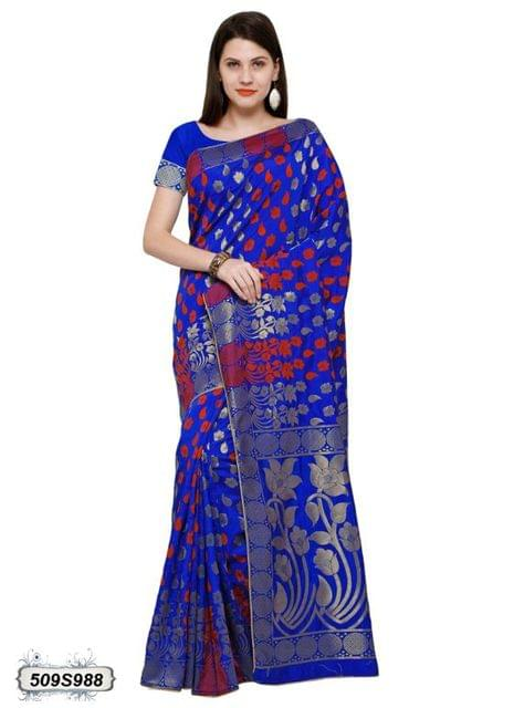Blue & Red Color Poly Silk Saree 509S988
