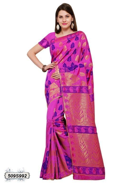 Pink Color Poly Silk Saree 509S992