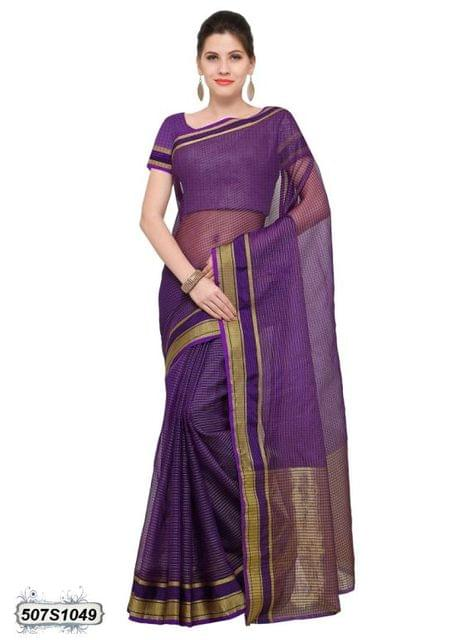 Violet & Golden Color Poly Silk Saree 507S1049