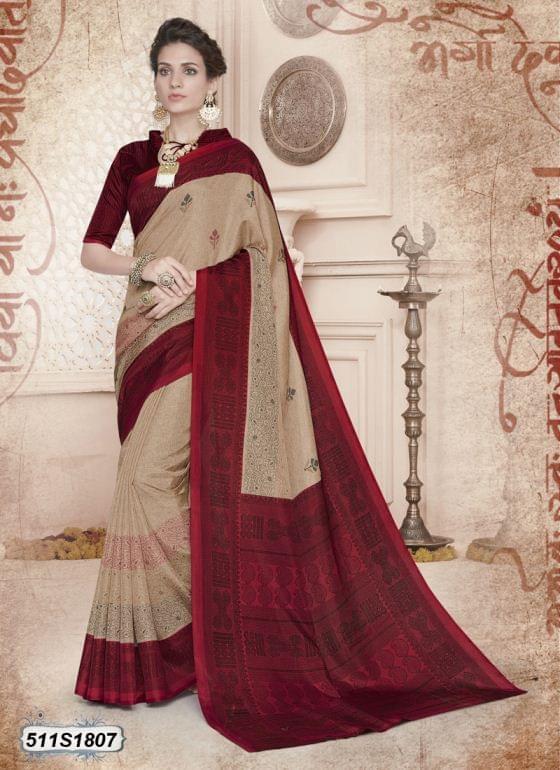 Beige & Maroon  Color Poly Cotton Saree 511S1807