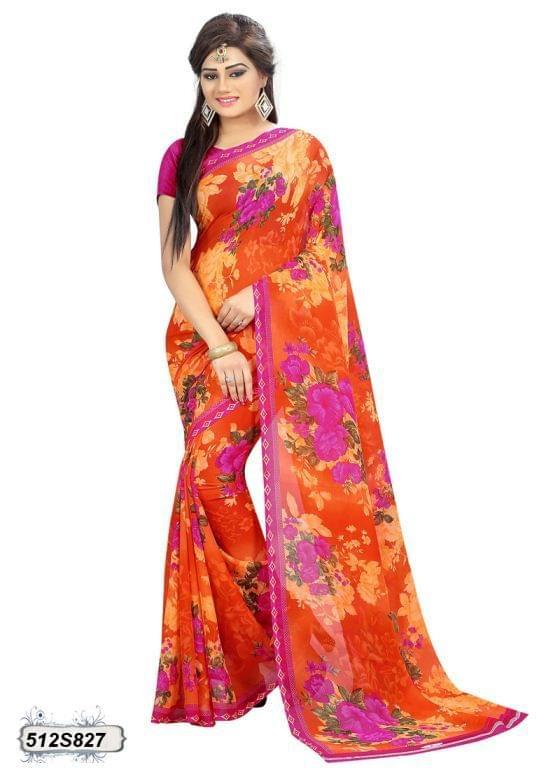 Orange & Multi Color  Georgette  Saree 512S827