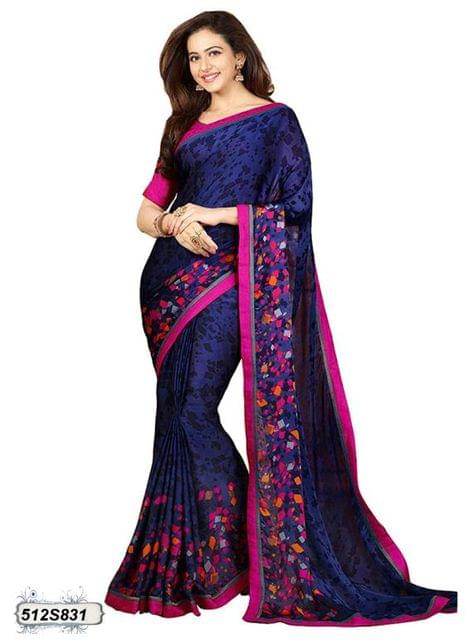 Navy Blue & Black Color  Georgette  Saree 512S831