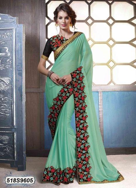 Green Color  Georgette  Saree 518S9605