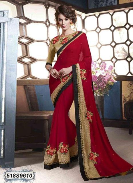 Red & Beige Color  Georgette  Saree 518S9610