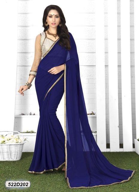 Navy Blue Color  Georgette  Saree 522S202