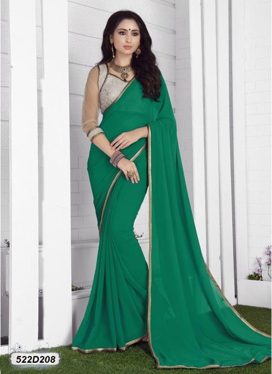 Green Color  Georgette  Saree 522S208