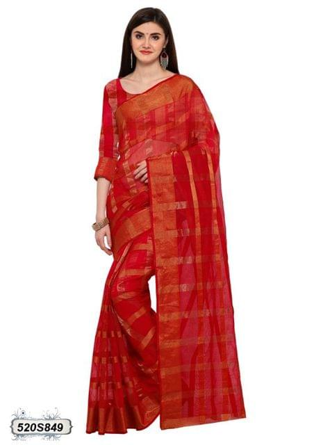 Red & Golden Color Poly Silk Saree 520S849