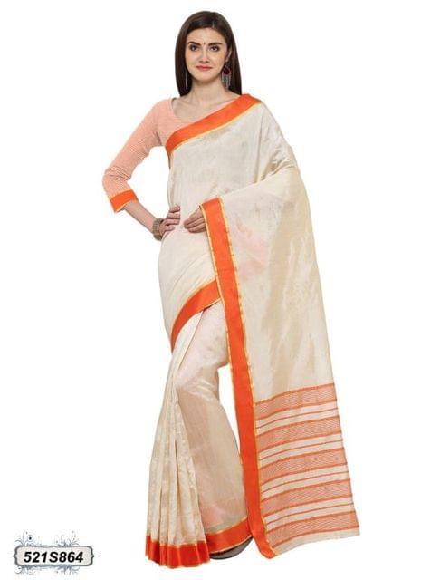 Off White & Orange Color Poly Silk Saree 521S864