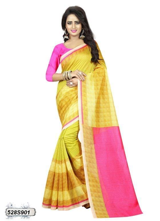 Pink & Green Color Art Silk Saree 528S901