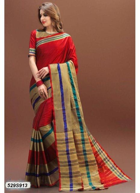Red & Golden Color Poly Silk Saree 529S913