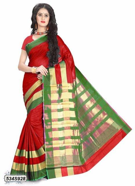 Red & Green Color Poly Silk Saree 534S928