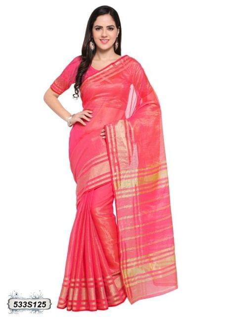 Peach Color Poly Silk Saree 533S125