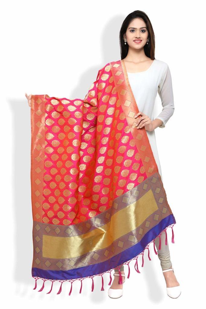 Rani Pink and Royal Blue Banarasi Dupatta with Floral Motifs