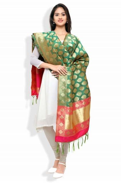 Green & Red Banarasi Dupatta with Floral Motifs
