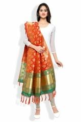Orange & Green Banarasi Dupatta with Floral Motifs