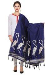 Navy Blue & Silver Banarasi Dupatta with Crane Bird Design