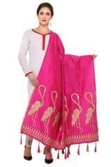 Pink & Golden Banarasi Dupatta with Crane Bird Design