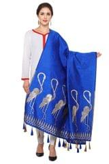 Royal Blue & Golden Banarasi Dupatta with Crane Bird Design