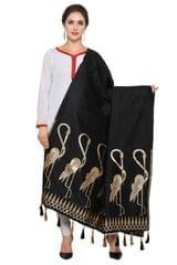 Black & Golden Banarasi Dupattawith Crane Bird Design
